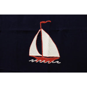 Vintage Gucci Nautical Navy w/ Red & White Wave Trim and Sailboats