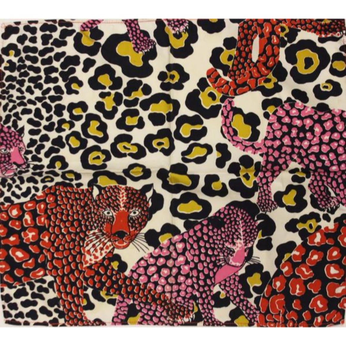'Vintage Set of 7 'Leopard' Print Cotton Pocket Sqs'
