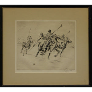 Four Charging Polo Players