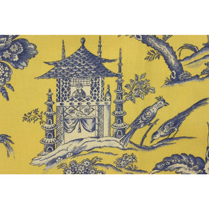 Mustard Yellow and Bleu de France Colour Vintage Chinoiserie Fabric