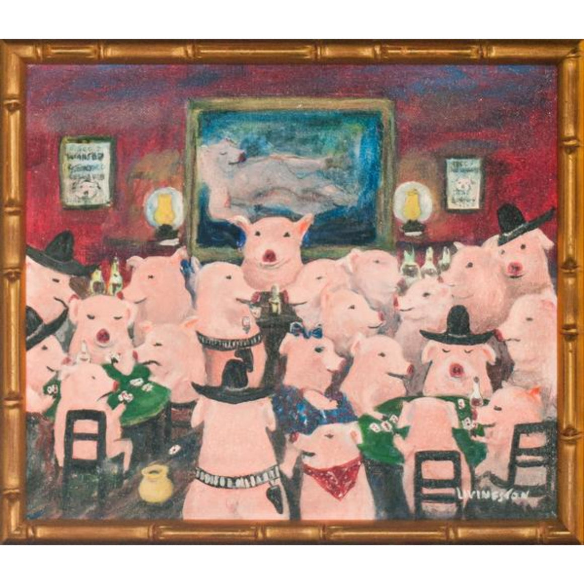 Piglets Saloon Oil on Canvas
