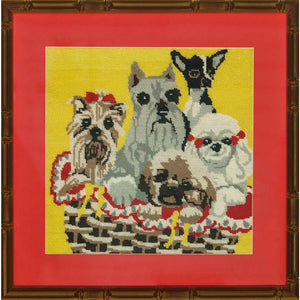 Five Needlepoint Doggies