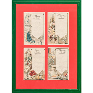 Quartet of c1909 Parisien Restaurant Menus
