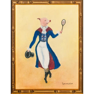 'Dapper Piglet Tennis Player' 'c1970s Oil Painting