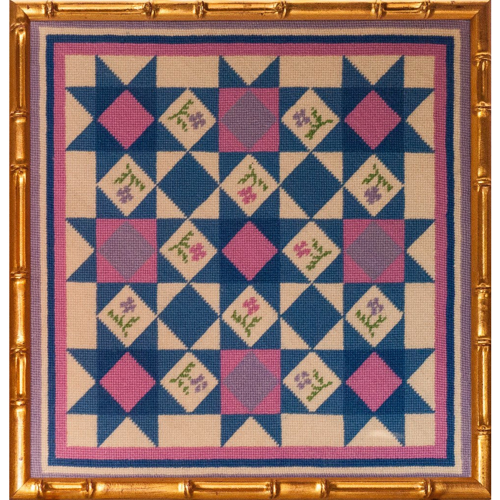 Custom Needlepoint Floral Geometric Framed Canvas