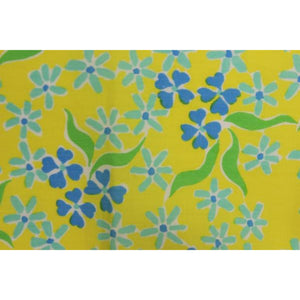 Set of 4 Lilly Pulitzer c.1960's Yellow Napkins/ Pocket Sq w/ Blue Floral Pattern