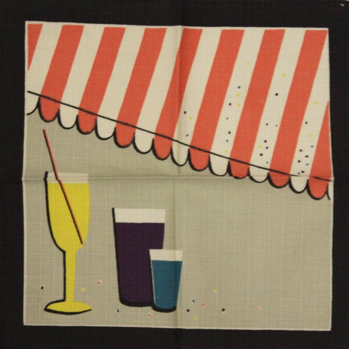 Set of 3 Multicolor Awning Linen Cocktail Napkins
