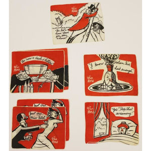 Set of 7 Madeira Linen Gentlemen Behaving Badly Cocktail Napkins