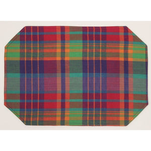Set of 4 Multicolor Madras Plaid Table Mats