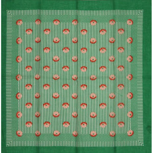 Robinson & Golluber Ladies Bandana w/ Green Stripe & Rose Pattern