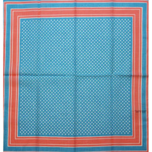 Robinson & Golluber Ladies Blue Dot Bandana w/ Peach Trim