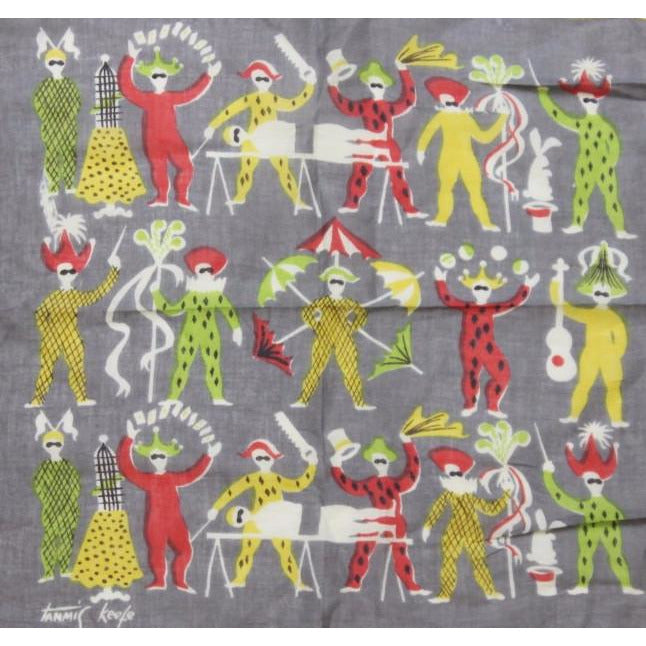 Tammis Keefe Pocket Square w/ Circus Characters