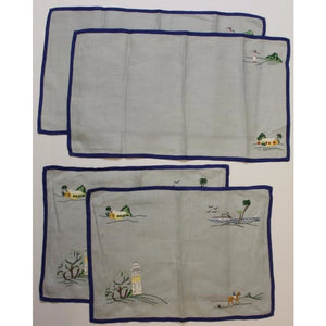 Vintage Madeira Linen Set w/ 2 Table Mats & 2 Matching Table Runners