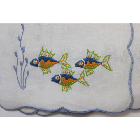 Set of 12 Madeira Linen 'Tropical Fish' Cocktail Napkins