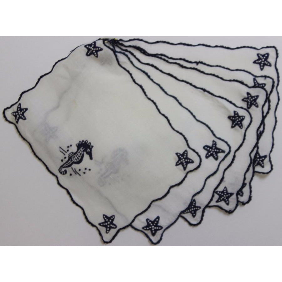 Set of 6 Vintage Madeira Linen 'Navy Seahorses & Starfish' Cocktail Napkins