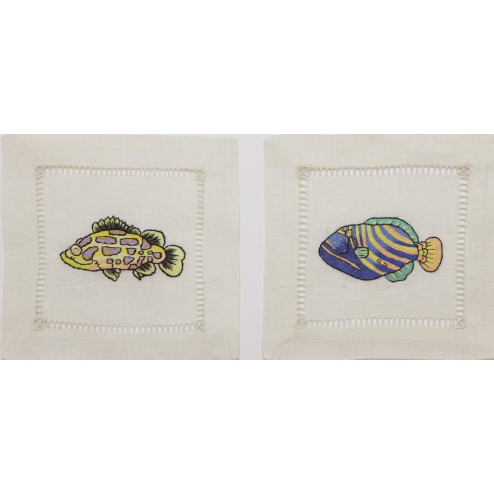 Pr of Linen 'Tropical Fish' Cocktail Napkins