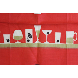 Red Linen Table Runner w/ Bar Stools & Champagne Glasses