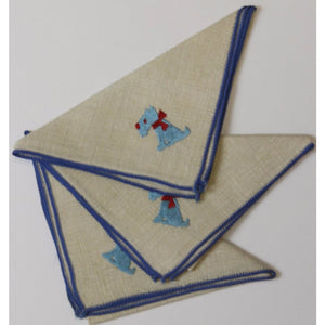 3pc Vintage Blue Scottie Cocktail Napkins