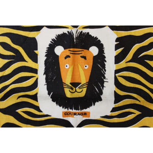 "Lion ""Courage"" Print Fabric by Tammis Keefe"