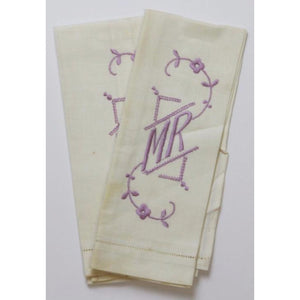 Vintage 'Mr & Mrs' Linen Hand Towels w/ Lavender Monogram