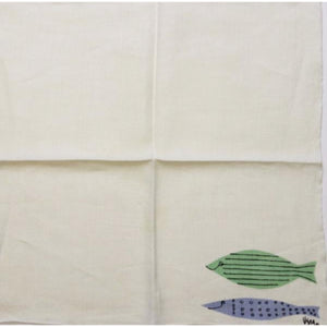 Vintage c.1950's Linen Vera 4pc Placemats w/ Green & Blue Fish