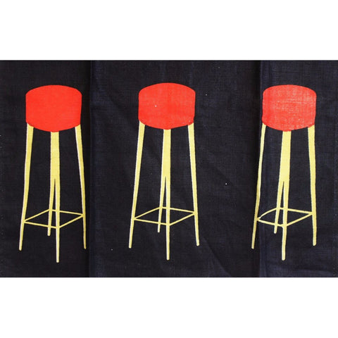 Black Bar Stools & Champagne Glasses Table Runner
