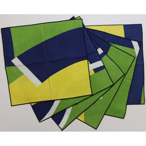 Vintage Set of (6) Blue/Green/& Yellow 'Vera' Nautical Place Mats