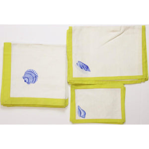Vintage Seashell Set of (4) Placemats, (4) Runners, and (4) Napkins w/ Yellow Trim