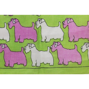 Lime Green, Pink & White Terrier Pocket Square