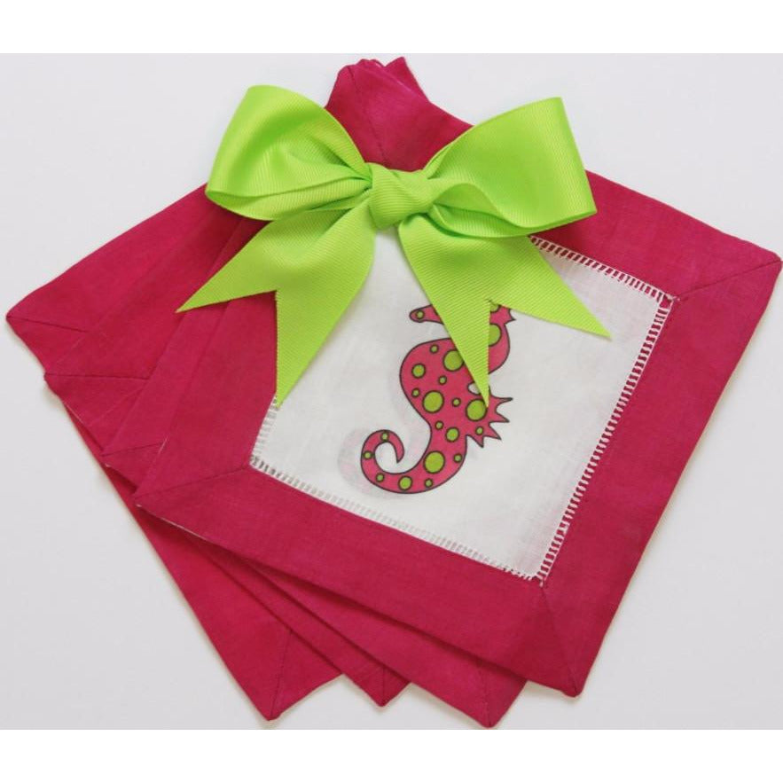 Set of 4 Fuchsia & Lime 'Seahorse' Cocktail Napkins