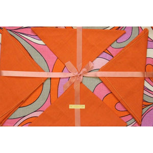 Set of 6 Orange & Pink Swirl Linen Place Mats w/ Matching Orange Napkins
