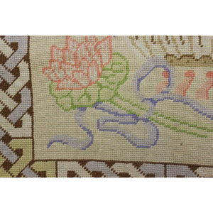 Beige & Pastel Blue Flower Pot Needlepoint Rug