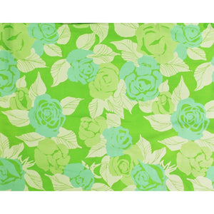 Roseland Hand Lime Green & Aqua Floral Print Key West Fabric
