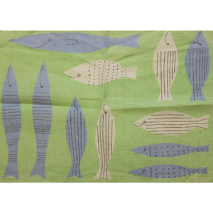 Vera Seagrass Green Table Mat w/ Blue & White Fish