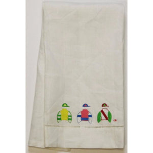 Vintage White Table Runner with Multicolor Jockey Silks
