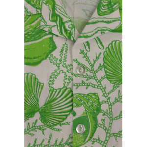 Men's Bahamas Hand Print S/S Shirt w/ Lime Green Conch Shells Sz. XL