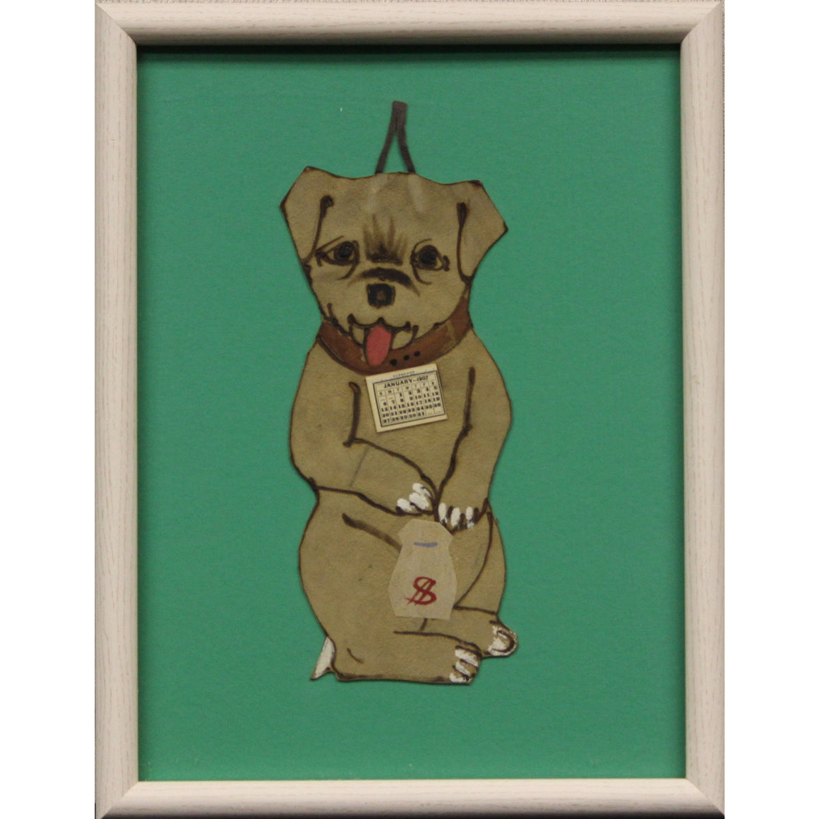 Terrier Clutching a Money Purse c1907 Framed Calendar