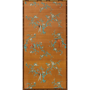 Chinese Botanical Silk Panel