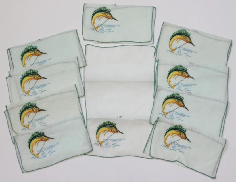 Ten Madeira Linen Cocktail Napkin Set w/ Swordfish