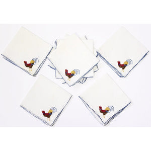 8pc Cocktail Napkin Set w/ Embroidered Roosters