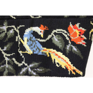 Black Needlepoint Floral Runner w/ Peacocks