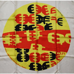 Silk Scarf w/ Yellow & Red Pattern