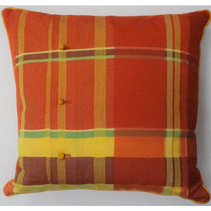 Coral/Lemon & Lime Plaid Pillow