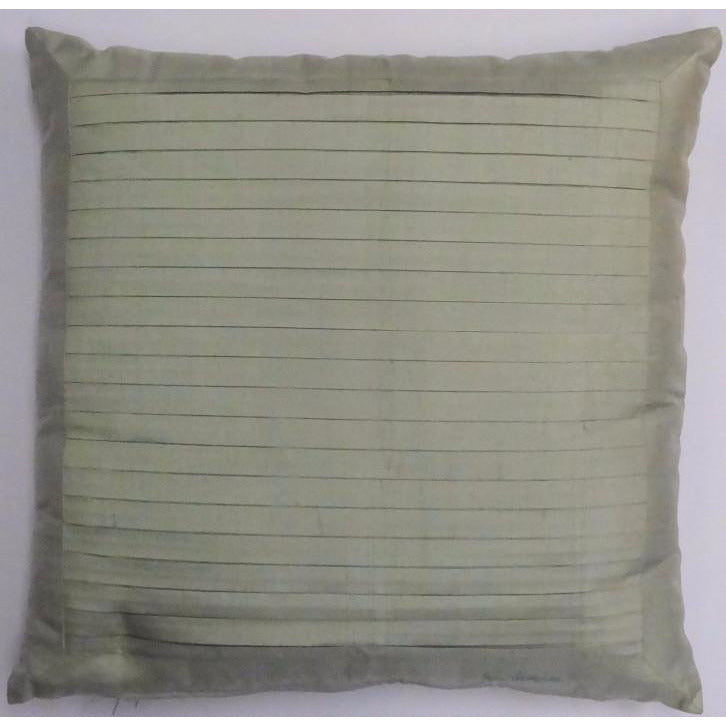 Jim Thompson Sage Green Silk Pleated Pillow