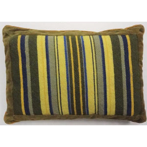 Olive Needlepoint Pillow w/ Green/ Blue & Yellow Stripes