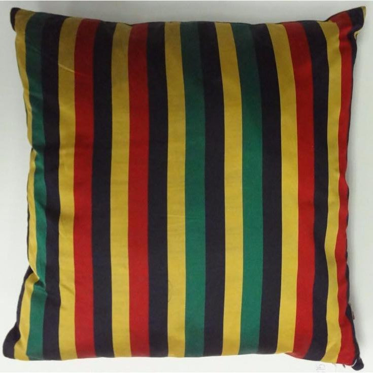 Vintage Silk Pillow w/ Gold/Navy/Red & Green Stripes
