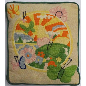 Pastel Sunrise Needlepoint Pillow