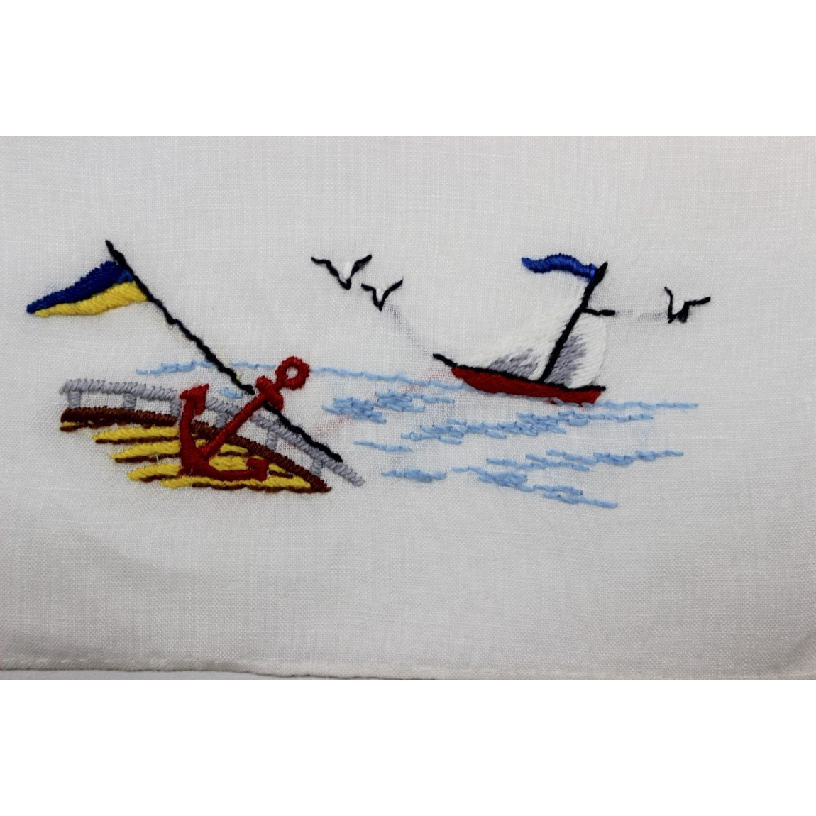 Set of 7 Vintage Madeira Linen Cocktail Napkins w/ Sailboat & Anchor Motif