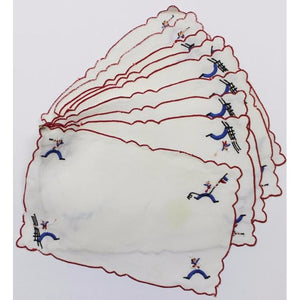 Set of 8 Madeira Linen Sailors Cocktail Napkins