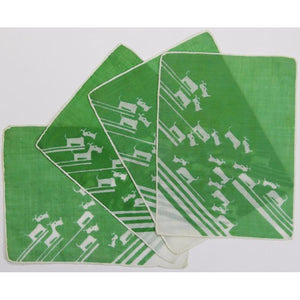 Set of 4 Green Madeira Linen 'White Scottie' Cocktail Napkins